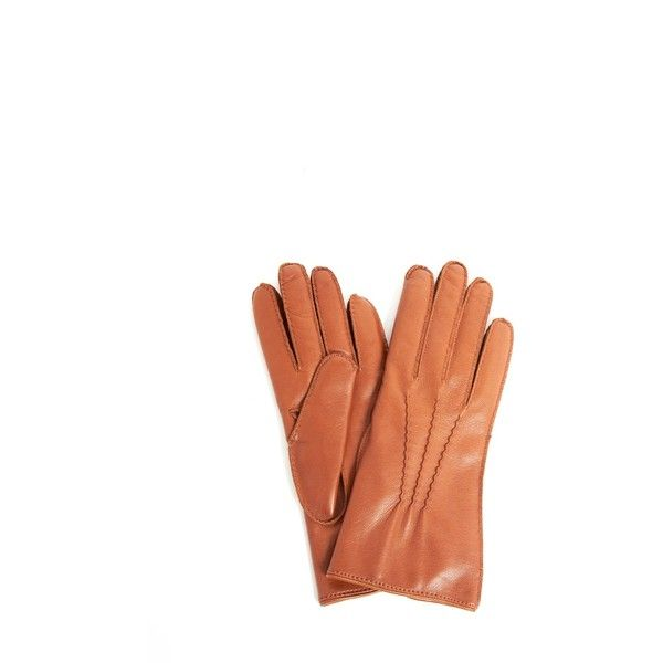 DRIES VAN NOTEN  Leather Gloves (25370 RSD) ❤ liked on Polyvore featuring accessories, gloves, brown gloves, real leather gloves, brown leather gloves, leather gloves and dries van noten