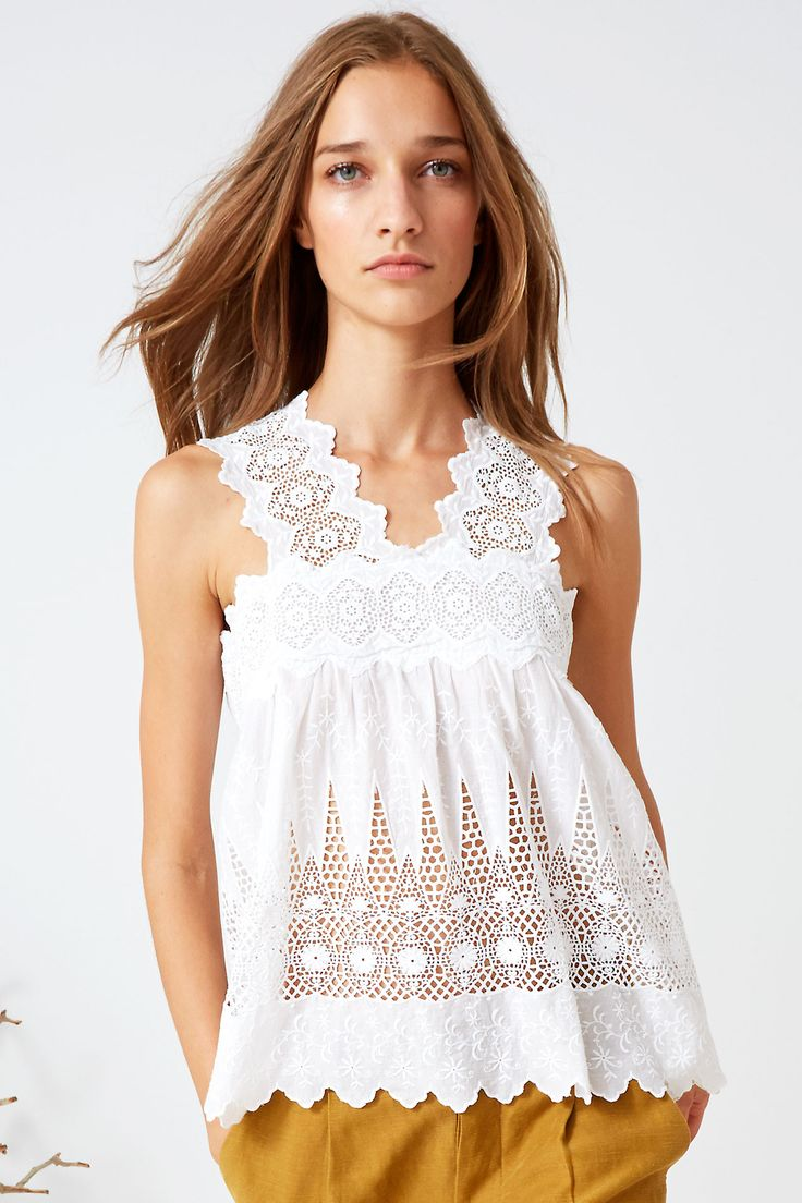 Scalloped Lace and Eyelet Blouse