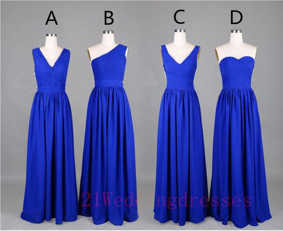 Simple Royal Blue Bridesmaid Dresses,Chiffon Bridesmaid Dresses http://21weddingdresses.storenvy.com/products/15655824-simple-royal-blue-bridesmaid-dresses-chiffon-bridesmaid-dresses