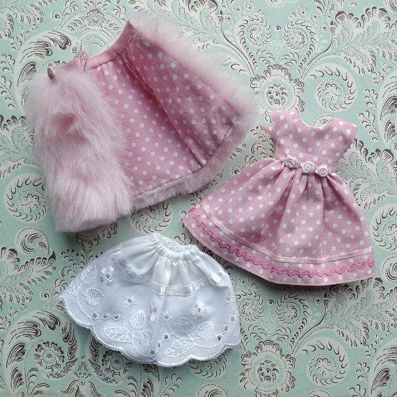 Bébé Cape de fourrure rose Faux et Polka Dot robe par MissMilupka