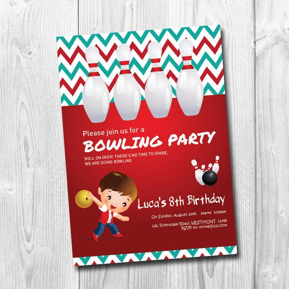 Bowling Party Invitation Let's BOWL Invitation Kids by labmstudio