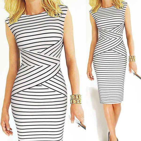 Wholesale Stylish Round Collar Sleeveless Striped Women's Midi Dress Only $8.64 Drop Shipping | TrendsGal.com