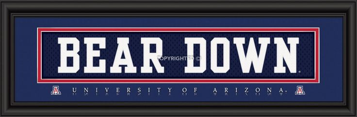 Arizona Wildcats NCAA Glass Framed School Slogan Print