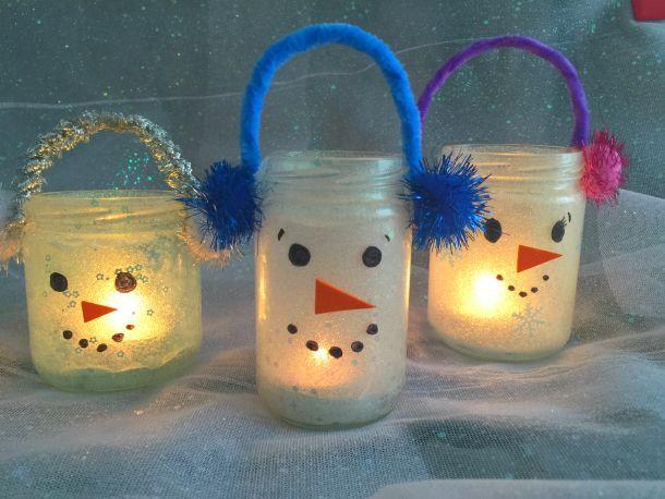 Lanterne di Natale - pupazzi di neve