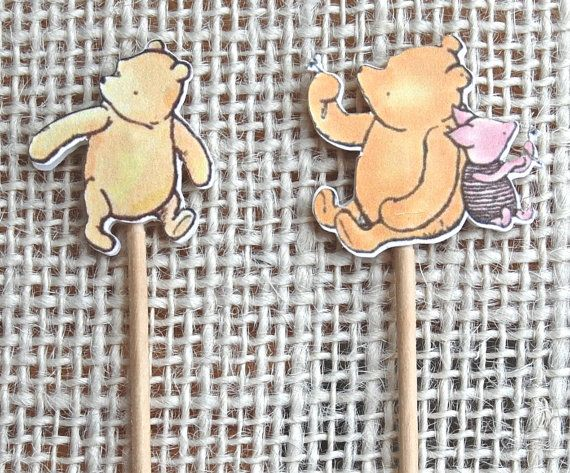 Winnie The Pooh Party Picks, Cupcake Toppers, Toothpicks, Food Picks, Winnie the Pooh Party, Pooh Birthday Party,Winnie The Pooh Baby Shower