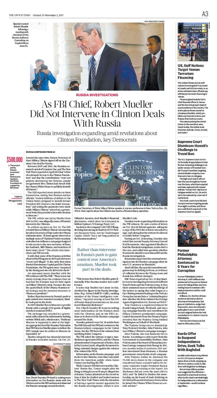 As FBI Chief, Robert Mueller Did Not Intervene in Clinton Deals With Russia|The Epoch Times #newspaper #editorialdesign