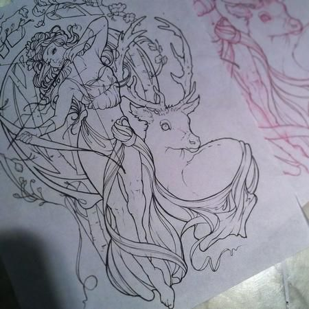 Aubrey Mennella - Art Nouveau Artemis tattoo outline