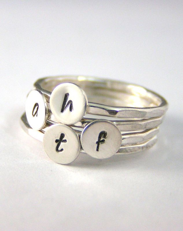 Custom Initial Rings, Personalized Set Of 4 Mothers Stack Initial Rings