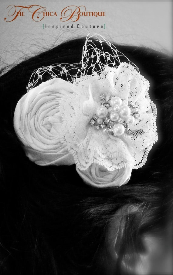 """Might make a """"something old"""" hairpiece with vintage jewelry or lace"""