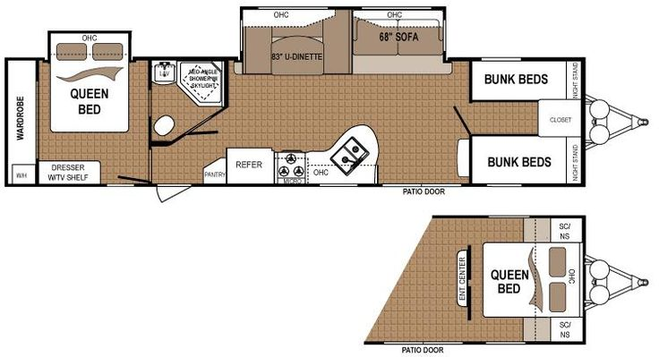 "Travel Trailers and Fifth Wheels Floorplans | Dutchmen Travel Trailers 30'8""  8,343#"