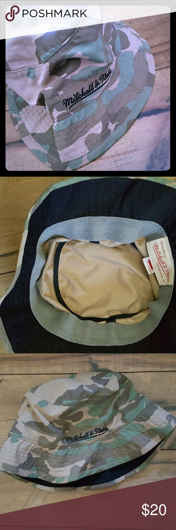 Mitchell & Ness Camo Bucket Hat 100% Authentic  Excellent Used Condition   Perfect lightweight hat for all your outdoor fun!! Mitchell & Ness Accessories Hats