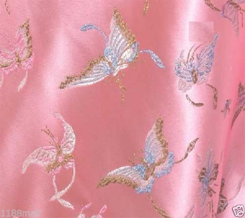 BR-79-pink-butterfly-CHINESE-BROCADE-TAPESTRY-FABRIC-PER-YARD-36-034-W