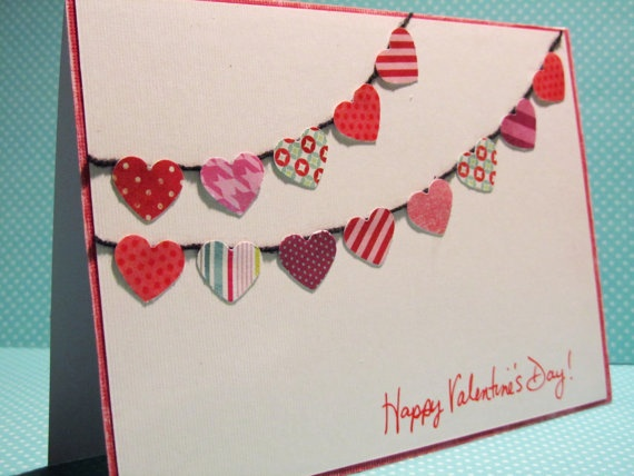 Etsy - Valentines Day Card Handmade Banner of hearts by WildBeanlore,