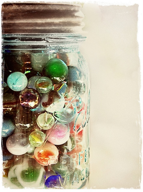 Weight Loss tracking idea.  Fill a jar with marbles (either 1 for every pound you have to lose or 1 for every pound you weigh) and then remove 1 marble for each pound you lose.