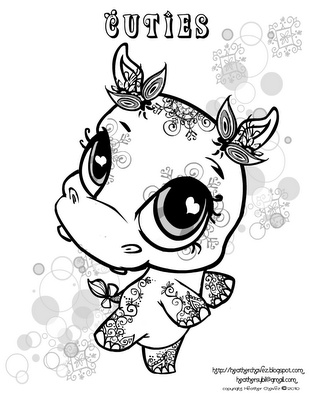Creative Cuties: hippo coloring page