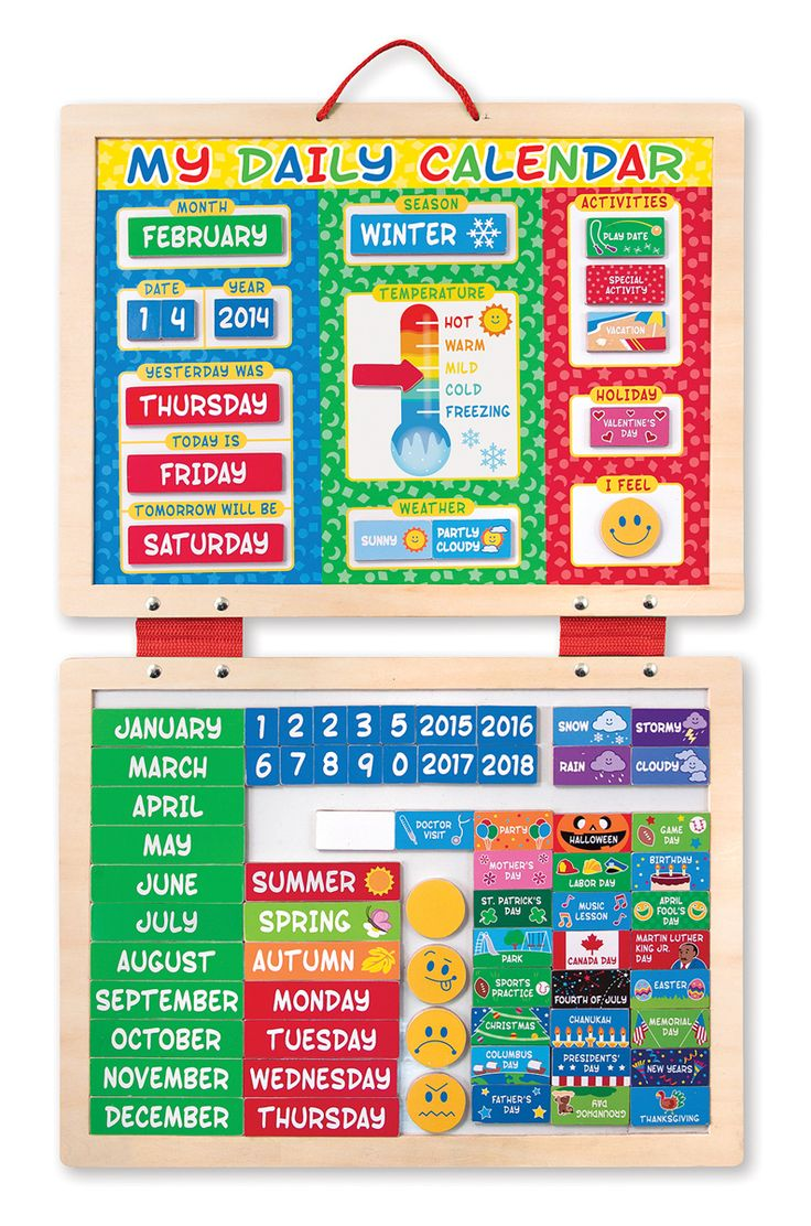 What is today? For a child, that simple question can have so many answers--and this daily calendar helps satisfy them all! Kids will feel a greater sense of control and responsibility when they help post the day of the week, date, weather, and special events on the large magnetic board for all to see. There's even a space to post their mood--an excellent way to open communication and encourage children to gauge their own emotions.