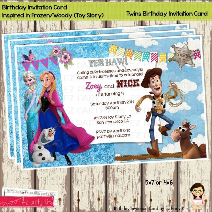 frozen and toy story twins birthday invitation card