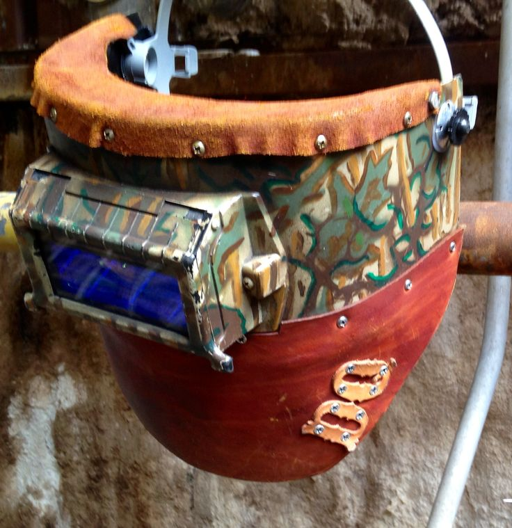Hand painted camp & leather welding hood