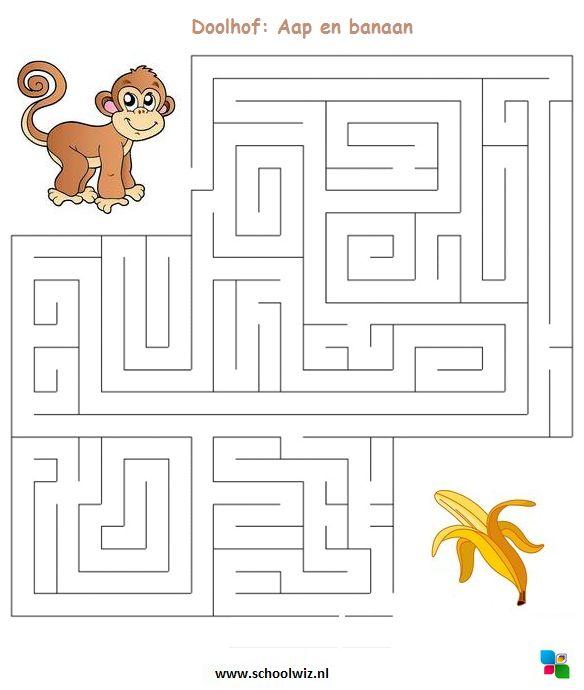 Doolhof puzzel. Zorg dat de aap bij zijn banaan komt. #puzzels #doolhof #schoolwiz