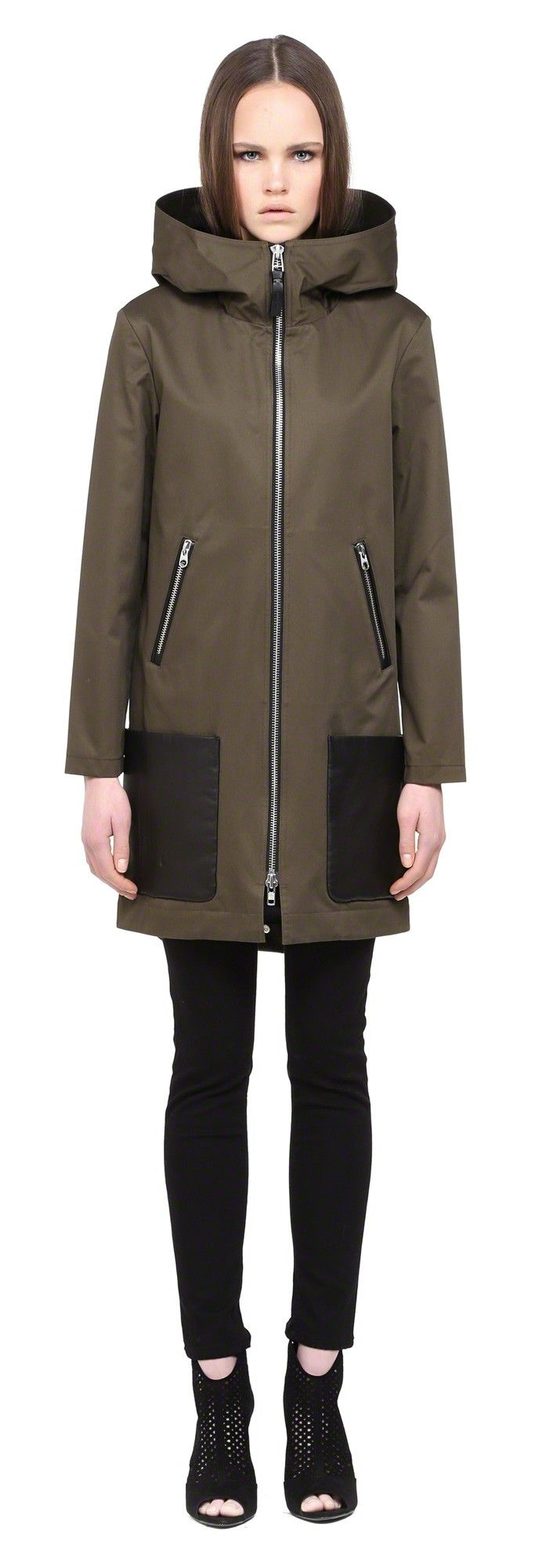 MACKAGE DIVYA KHAKI SPRING TRENCH COAT WITH HOOD FOR WOMEN  #mackage #trenches