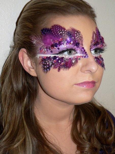 Purple feather & rhinestone makeup for Mardi Gras
