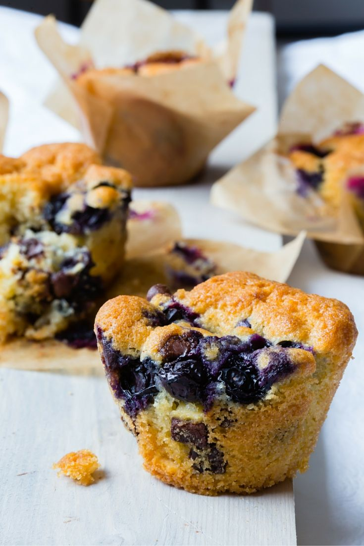 Super delicious Thermomix blueberry double chocolate chip muffins. The ideal recipe for breakfast.