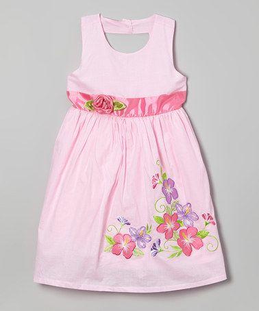 Look at this #zulilyfind! Pink Hibiscus Keyhole Dress - Toddler & Girls by Littoe Potatoes #zulilyfinds