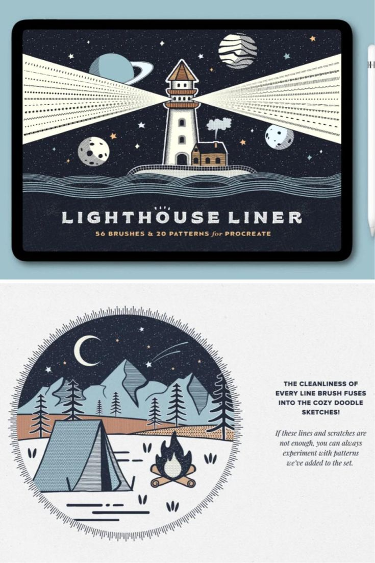 Lighthouse Liner Procreate Brushes