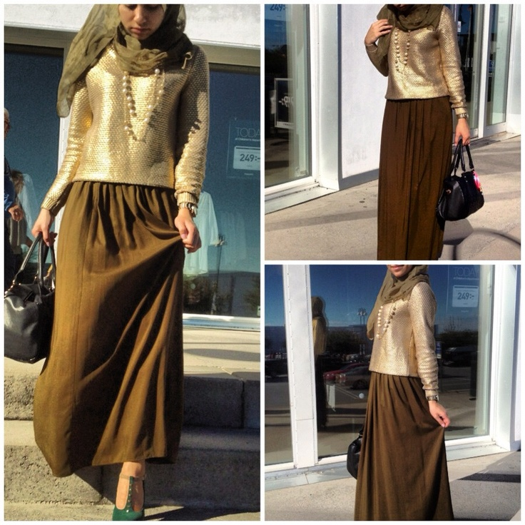 Hijabi hijab style fashion gold maxi skirt shine
