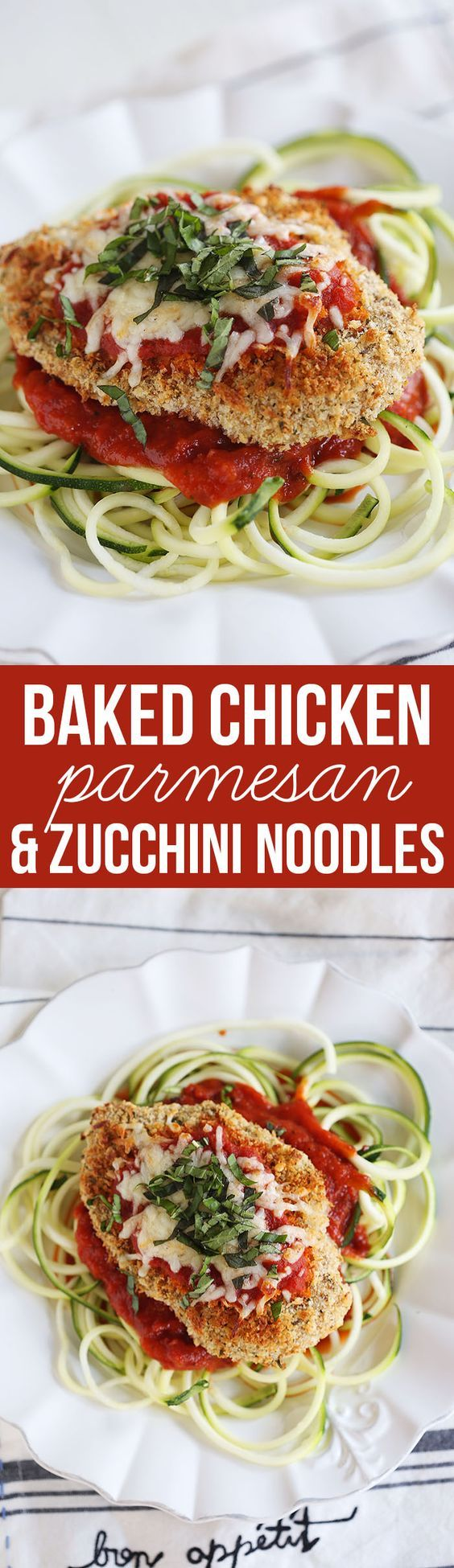 This recipe for Baked Chicken Parmesan with Zucchini Noodles is healthy, delicious and can easily be made in just 30 minutes or less! (Baking Pasta With Chicken)