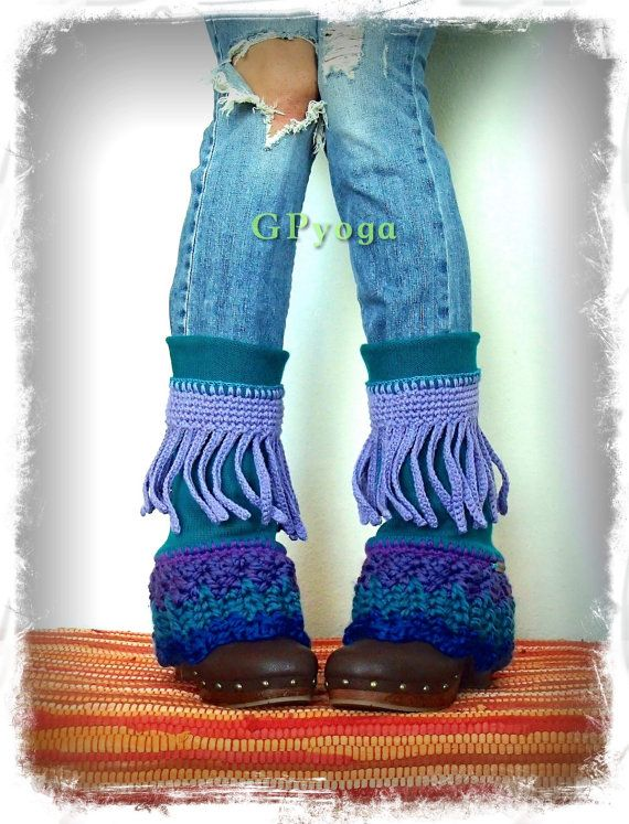 For Elisabet. Teal PIXIE leg warmers Flared Boho Hippie by GPyoga
