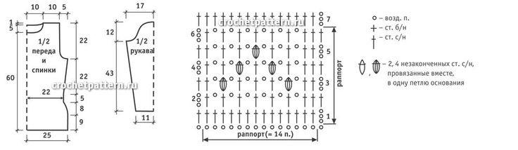 Схемы и выкройки вязания крючком туники с шахматным порядком полос.