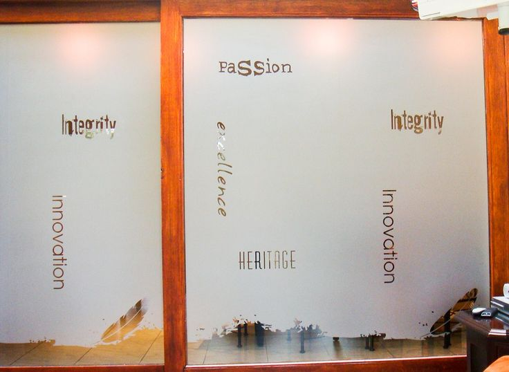 Pretty window frosting idea for an office boardroom using words that embody the company's corporate ethos and values. The transparent words stand out strikingly against the opaque window frosting.