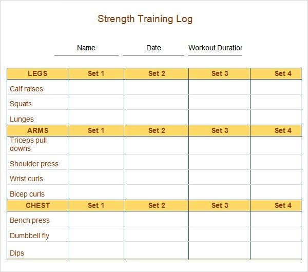 7 best Workout log images on Pinterest Workout log, Basic - workout char template