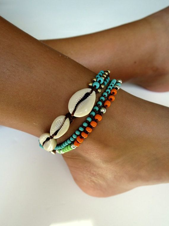 Beaded anklet shell anklet beads anklet knotted anklet cowrie shells turquoise orange gold filled and silver beads colorful Bohemian anklet
