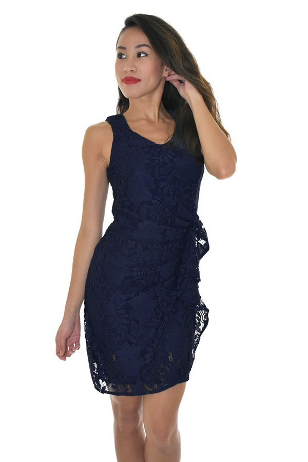 PSL Gathered Lace Dress in Navy