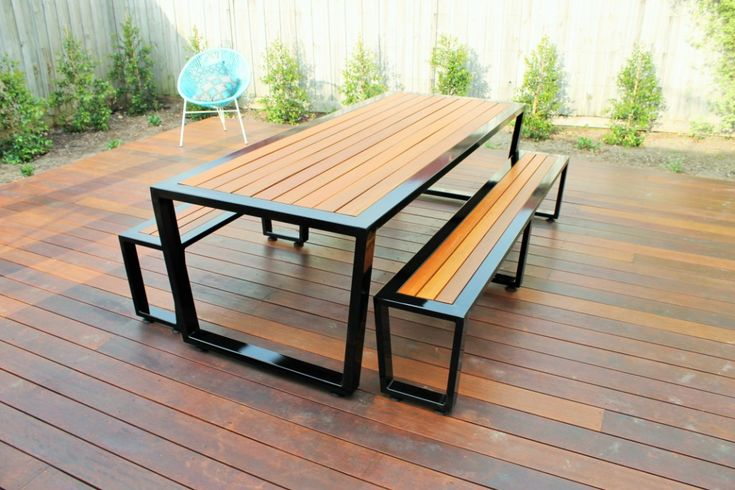 Custom 3 x Piece Setting with Black Frames & Spotted Gum Timbers. By Outdoor Table Creations