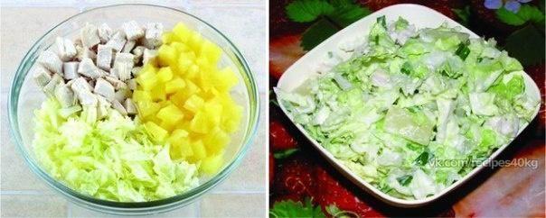 Салат из пекинской капусты, курицы и ананаса / Живой лёд глобальных вопросов