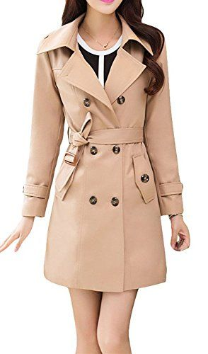 Womens Slim Fit Turn Down Collar Double-Breasted Hooded Long Trench Coat with Belt and Plus Size Outwear Coat * You can get additional details at the image link.