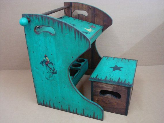 Rustic western wood kid's desk and box chair