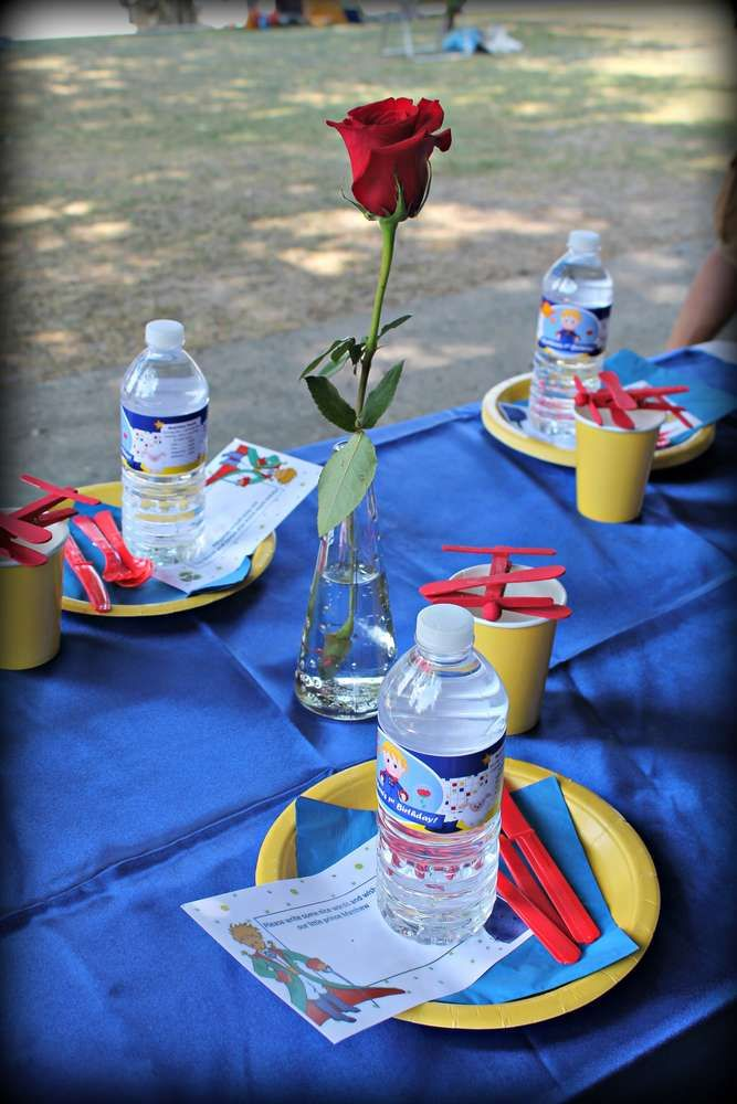Little Prince Birthday Party table settings!  See more party planning ideas at CatchMyParty.com!