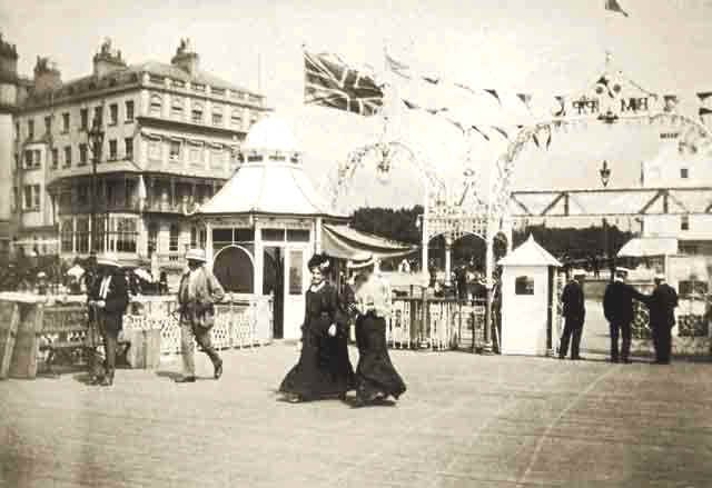 Archive black white photograph of the entrance to Palace Pier in Brighton, East Sussex (circa 1912)