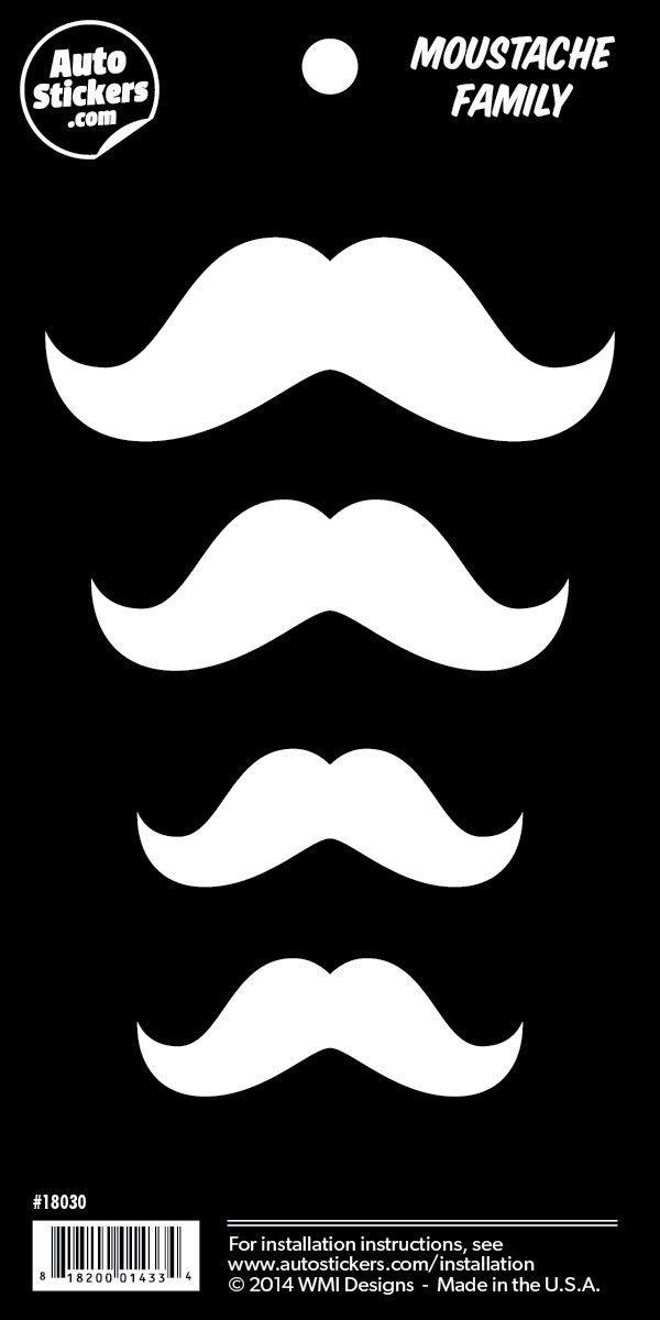 "Moustache Family Stickers - 4"" x 8"""