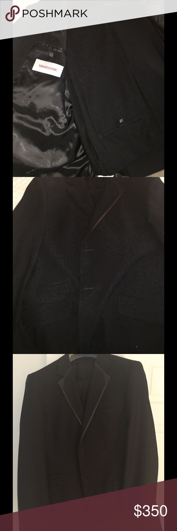 Versace Classic Tuxedo limited edition Classic Versace tuxedo with subtle branded embossed multiple Versace logo on exterior and inside of suit coat-- limited edition--worn only once Versace Suits & Blazers Tuxedos