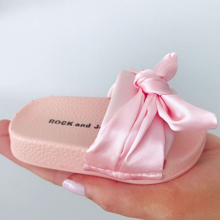 Itty Bitty Pink Satin Bow Sliders from Itty Bitty Boutique a collection of children's shoes & footwear for little boys & girls.