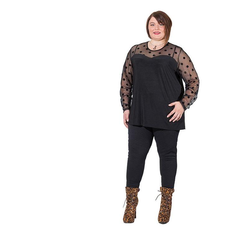 Tunique Grande Taille Noir, Pantalon Grande Taille Noir portés par Laurine Miss Ronde France Comité Alsace 2015