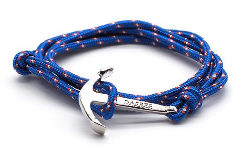 The Art Royal Blue Silver Anchor & Rope Bracelet