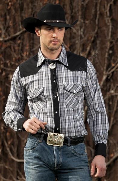Camisa western cuadros grises de Stars  Stripes para hombre