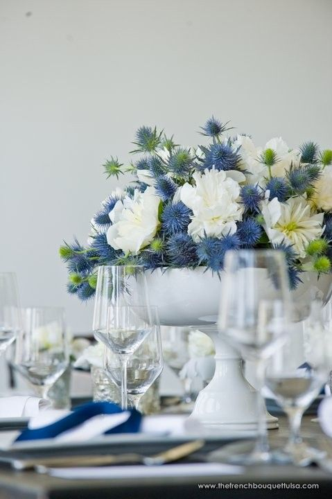 Blue thistle- An unexpected and edgy option. Def pair with something soft and luxurious like peonies.
