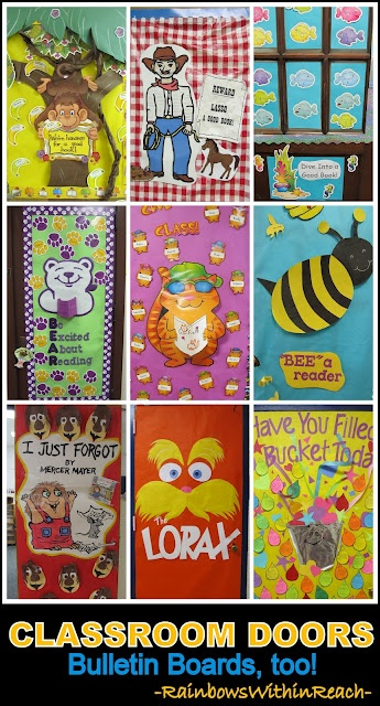 Classroom Door Decoration Ideas + Bulletin Board Ideas as well! (series of articles from school visits) (If only we were allowed to decorate our doors anymore ...)